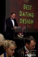 Nick Tsinonis announcing the Best Dating Design at the January 17, 2013 Internet Dating Industry Awards Ceremony in Las Vegas