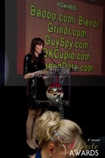 Julie Spira announcing the winner of Best Mobile Dating App at the 2013 Internet Dating Industry Awards in Las Vegas